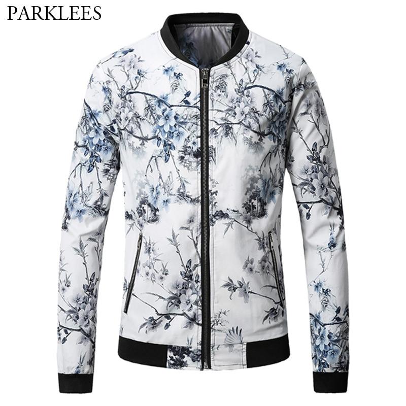 Flower Print Bomber Jacket Men 2017 Autumn Winter Mens Jackets Coats Casual Stand Collar Zipper Pocket Varsity Baseball Jacket