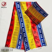 Latest Fashion African Printing Silk Satin fabric 4 yards + Digital Chiffon 2 for clothing JZC-3