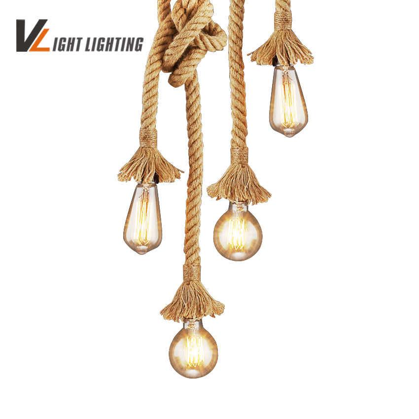 Ретро Винтаж веревка подвесной светильник AC 90-260 в личность промышленная лампа Эдисон лампа американский стиль для гостиной