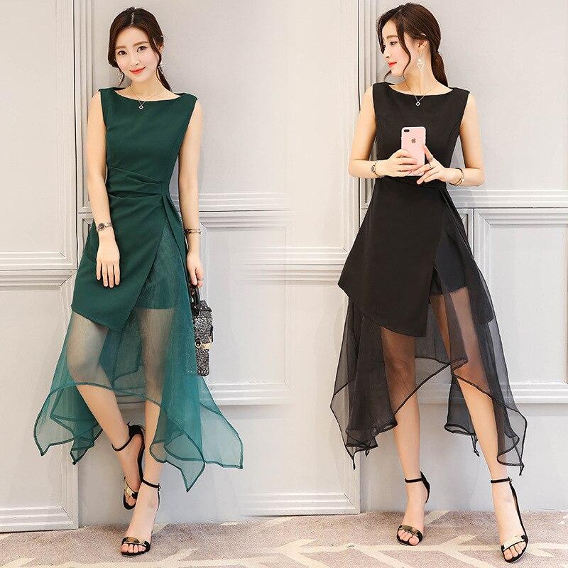 2018 קיץ חדש נשים מתוק אורגנזה שמלת נקבה אופנה סדיר שחור ירוק מסיבת טול נסיכת שמלת גבירותיי אלגנטית שמלה