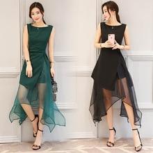 2018 Summer New Women Sweet Organza Dress Female Fashion Irregular Black Green Party Tulle Princess Dress ladies elegant Dress