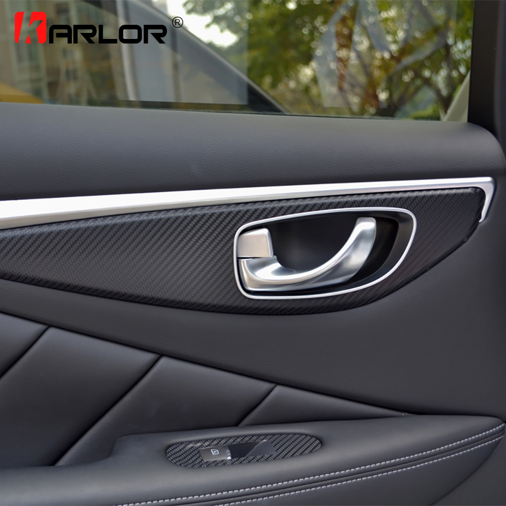 Auto Window Switch Panel Door Handle Trim Carbon Fiber Film Car-styling Sticker And Decal For Infiniti Q50 Q50L Accessories