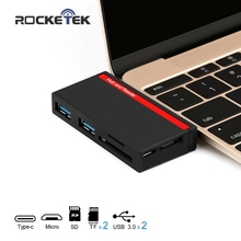 Rocketek Type-C Card Reader USB 3.0 Порты концентратора 3 слота Тип C картридер SD, TF Micro SD для компьютера MacBook/Mac Pro/Mac Air