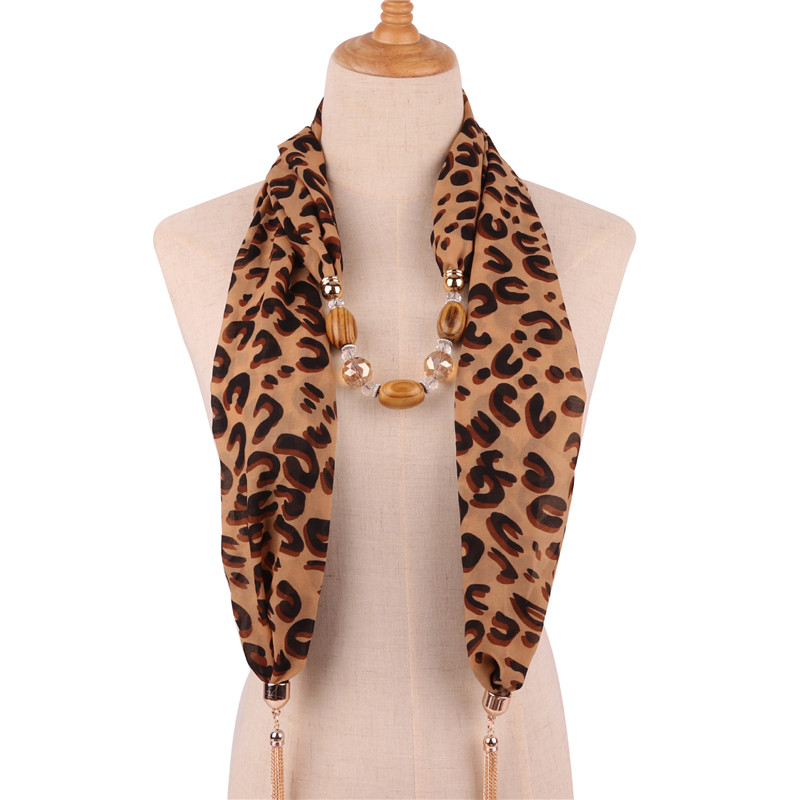 Image 3 - Ahmed 2019 New Fashion Snake/Leopard Printing Pendant Necklace  Scarf for Women Muslim Head Tassel Scarf Female Cloth  AccessoriesPendant Necklaces