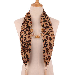 Image 3 - Ahmed 2019 New Fashion Snake/Leopard Printing Pendant Necklace Scarf for Women Muslim Head Tassel Scarf Female Cloth Accessories