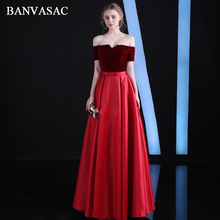 BANVASAC 2018 Boat Neck A Line Bow Sash Long Evening Dresses Elegant Velour Short Sleeve Backless Party Prom Gowns