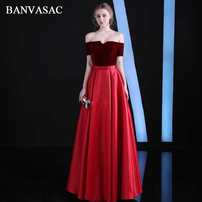BANVASAC 2018 סירת צוואר קו Bow אבנט ארוך ערב שמלות אלגנטי Velour קצר שרוול ללא משענת מפלגה לנשף שמלות