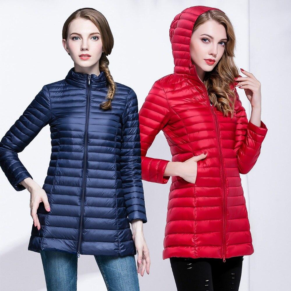 New Autumn Winter Fashion Slim Long   Down     Coat   Women Ultra Light 90% White Duck   Down   Jacket Hood Windproof Female Outwears Mw144