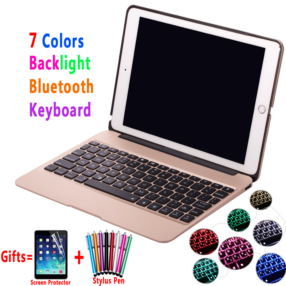 7 Color Backlit Aluminum Alloy Wireless Bluetooth Keyboard Smart Case Cover for Apple iPad Pro 9.7 Air2 Air 2 6 Coque Capa Funda