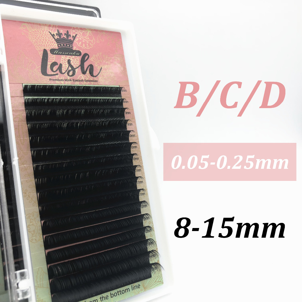 MAS 16rows/case C D Curl 3D Korea Russia Volume Soft Synthetic Individual Mink False Eyelashes Lashes Extension Free Shipping,