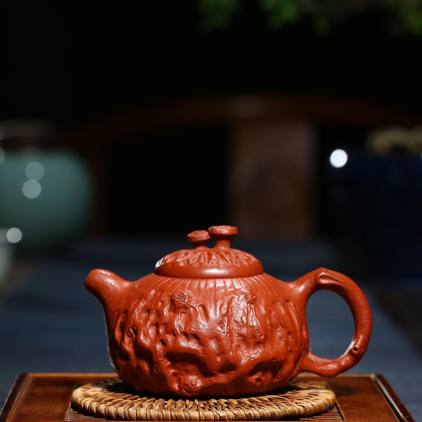 Enameled Pottery Teapot Famous Manual Make Raw Ore Cinnabar For Spring Pot Kungfu Online Teapot Tea Set Gift 280 MilliliterEnameled Pottery Teapot Famous Manual Make Raw Ore Cinnabar For Spring Pot Kungfu Online Teapot Tea Set Gift 280 Milliliter