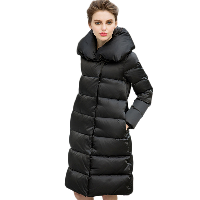 European Style Long Solid Large Turn Down Collar Women's Down Coat Winter 2017 New Covered Button Winter's Coats Female Y2270
