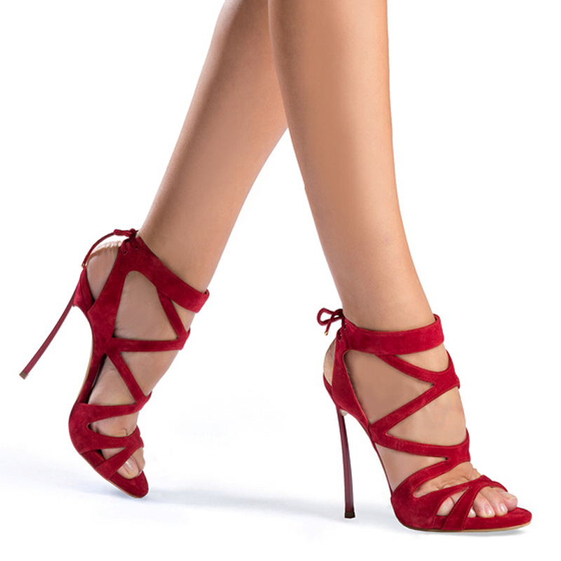 Hot selling solid color multi strap crisscross lace-up high heel sandals fashion elegant red sueded stiletto heel sandals fashion women s sandals with metal and stiletto heel design