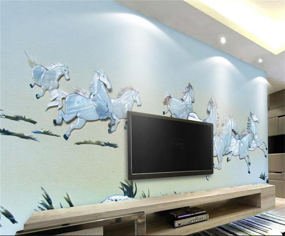 3D wallpaper/custom photo wall paper/Silver horse relief/mural/TV/sofa/Bedroom/KTV/Hotel/living room/Children room