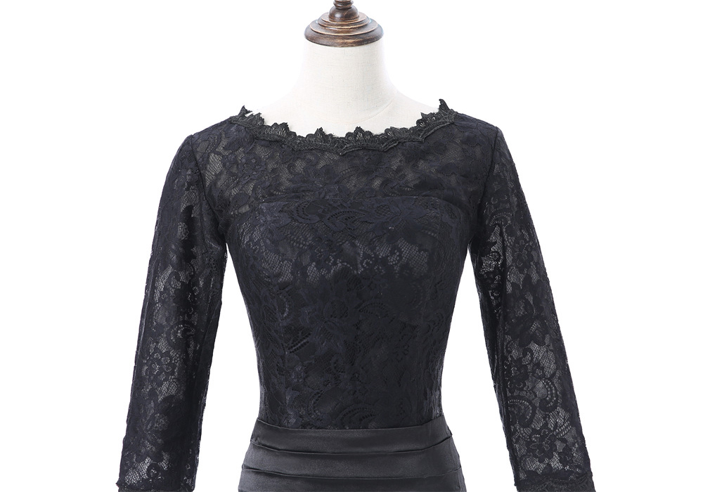 Noir 2019 mère de la mariée robes sirène 3/4 manches Satin dentelle longues robes de soirée marié mariage fête mère robes - 6