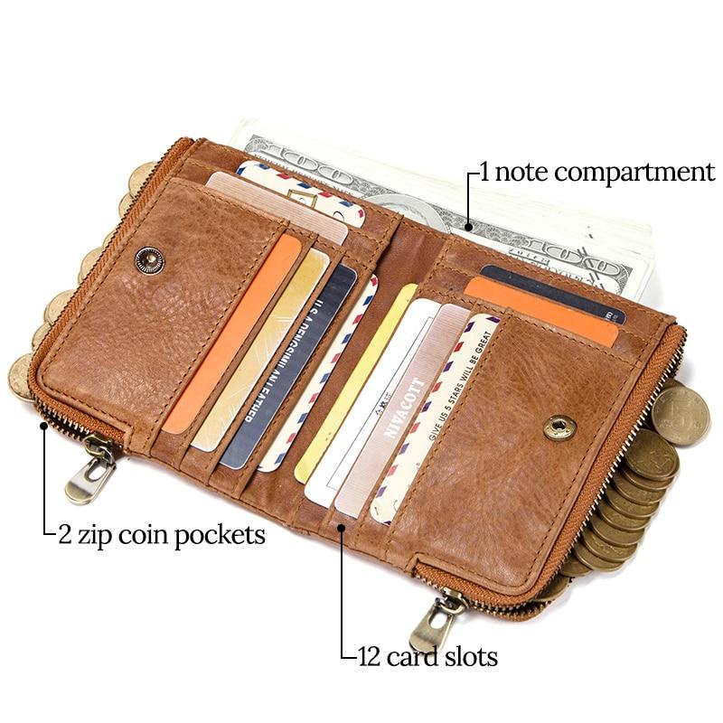 Angel Cola Mens Metallic Genuine Leather Slim Zipper Card Holder Wallet