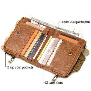 Image 3 - CONTACTS جلد أصلي للرجال محفظة بشريحة RFID مع مكافحة سرقة سلسلة حاملي بطاقة الذكور محفظة صغيرة مزدوجة سستة محفظة نسائية للعملات المعدنية خمر