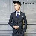 MAUCHLEY 3 Unid/set La Tela Traje de Un Solo Botón de Los Hombres de Corea Slim Fit Traje Único Breasted de Alta Calidad de Rayas de Moda trajes