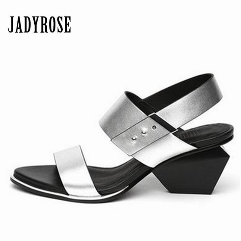 Jady Rose Strange Heel Summer Women Gladiator Sandals 6CM High Heel Sandal Genuine Leather Shoes Woman Sandalias Mujer Stiletto 2016 women red sole shoes woman gladiator shoe square low heel sandals ladies summer sandal sandalias femininas tenis feminino