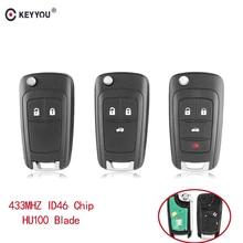 KEYYOU Alarm samochodowy klucz zdalny nadające się do Chevrolet Malibu Cruze Aveo iskra żagiel 2/3/4 przyciski 433MHz zamka drzwi ID46 układu
