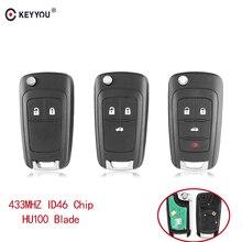 KEYYOU Auto Alarm Remote Key Fit Für Chevrolet Malibu Cruze Aveo Funken Segel 2/3/4 Tasten 433MHz Türschloss ID46 chip