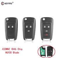 Llave remota de alarma de coche KEYYOU para Chevrolet Cruze Malibu Aveo Spark Sail 2/3/4 botones 433MHz cerradura de puerta ID46 Chip