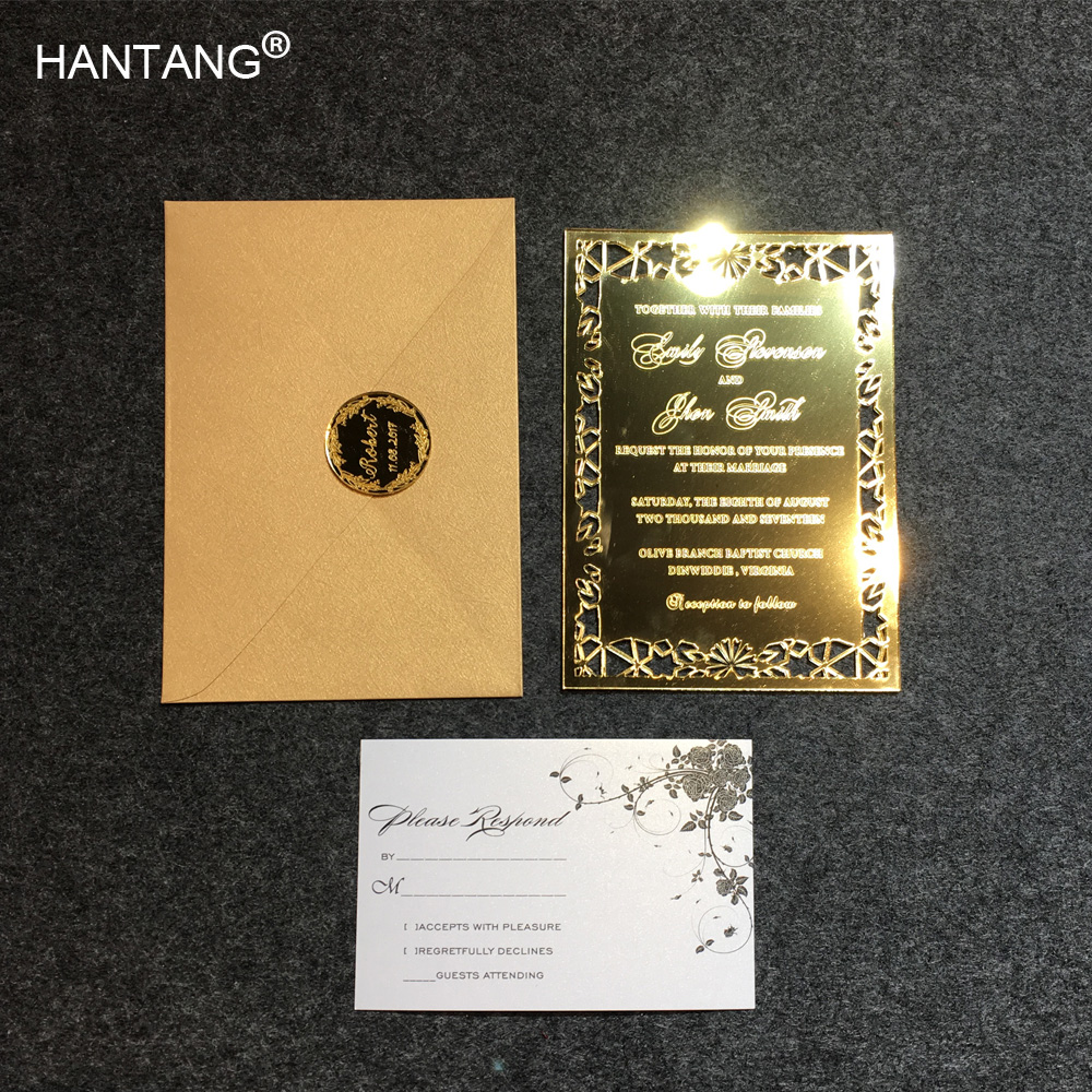 80 Gold Mirror Acrylic Asian Wedding Invitations with Envelopes