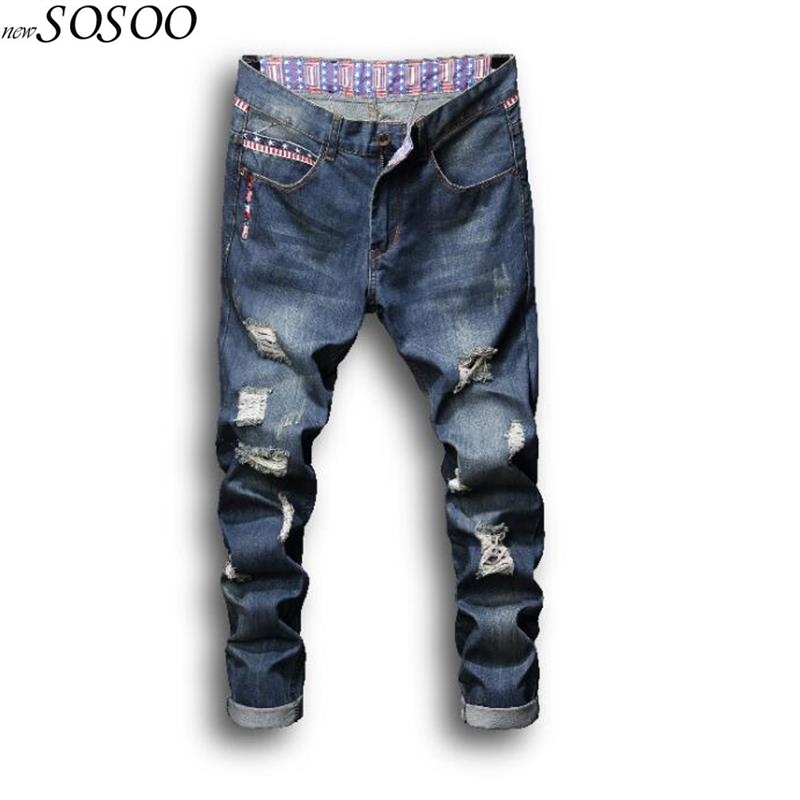 2018 new man jeans Cotton ripped jeans for men high quality hip hop skinny jeans men fashion jeans men #8841