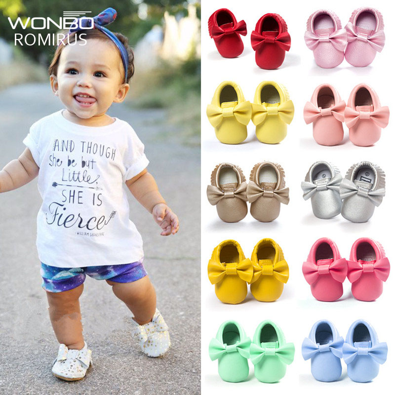 Handmade Soft Bottom Fashion Tassels Baby Moccasin Newborn Babies Shoes 19-colors PU leather Prewalkers Boots(China)
