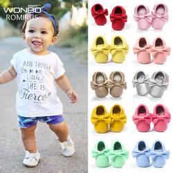 Ручная работа мягкая подошва Модные кисточки детские мокасины для новорожденных детская обувь 19-цвета для младенцев из кожи пу сапоги