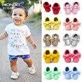 Hecho a mano de fondo suave moda borlas bebé zapatillas recién nacido bebés zapatos 19-colores de cuero de la PU zapato botas