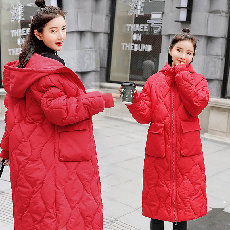 2018 New Cotton Jacket Winter Female Long Coat Thick Warm Hooded Down Cotton Clothing Women's Clothing boys cotton clothing 2018 winter new children long sleeve jacket cotton padded coat long down jacket thick winter warm coats