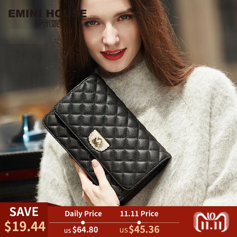 EMINI HOUSE Diamond Lattice Sheepskin Chain Bag Women Shoulder Bags Crossbody Bags For Women Genuine Leather Messenger Mini Bag emini house tote bag genuine leather women messenger bags shoulder bag handbag women famous brands crossbody bags for lady