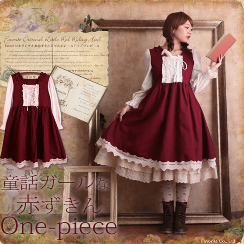 Vintage Lolita Red Dress Mori Girl Pleated Lace Empire Royal Elegant Women Dresses Ladies Faldas Cosplay Costume Clothing Autumn Платье