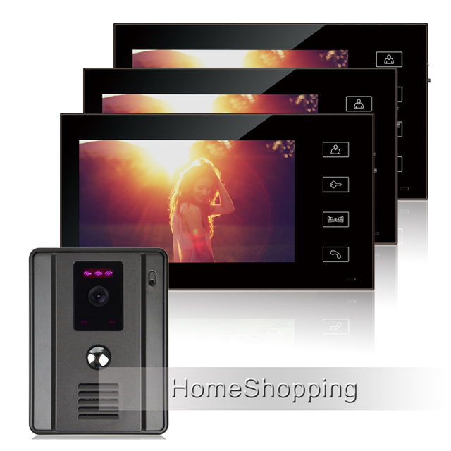 Free Shipping Home Intercom Wired 7 Tft Video Doorphone System With 3 Touch Monitor