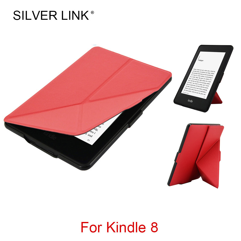SILVER LINK Kindle 8 Case UP Faux Leather Stander Cover For Kindle E-reader Ebook Skin Auto Sleep/WakeUp Hard Folding Shell
