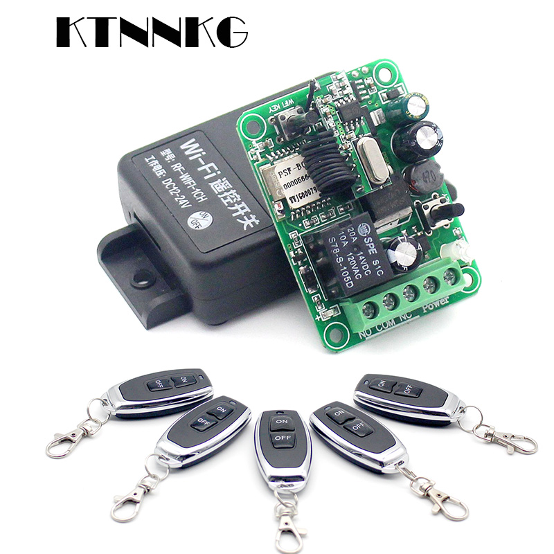 KTNNKG Wifi Remote Switch Wireless Remote Relay Receiver 1CH DC 12V 24V 36V 10A  433Mhz APP Voice Control For Electronic Lock