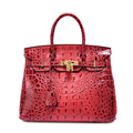 2016 New Famous Brands Women Genuine Leather Crocodile Pattern Handbags Luxury Women Bags Golden Lock 25 30 Designer Lady Purses