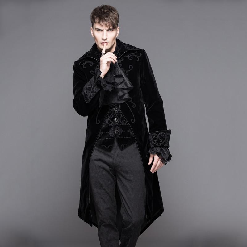 2018 Devil Fashion Gothic Palace Vítr Dlouhé Rybinové bundy pro muže Steampunk Autumn Winter Tlusté kabáty Casual Parka Overcoats