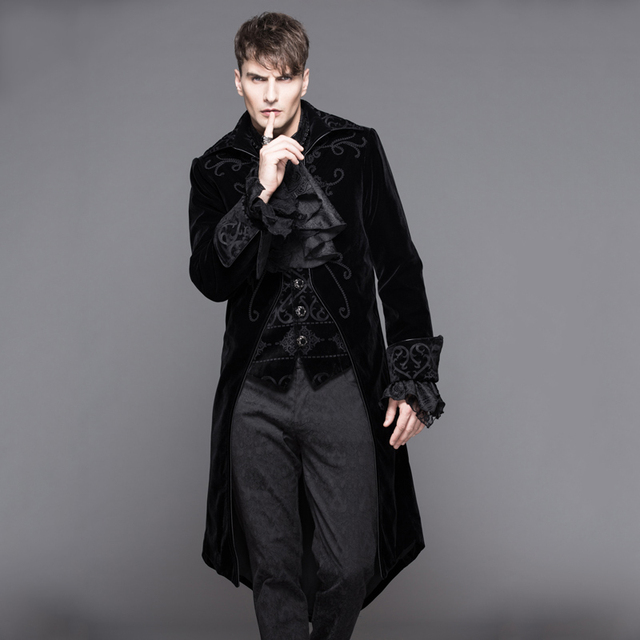 81b93c2f8 2018 Devil Fashion Gothic Palace Wind Long Dovetail Jackets for Men  Steampunk Autumn Winter Thick Coats Casual Parka Overcoats
