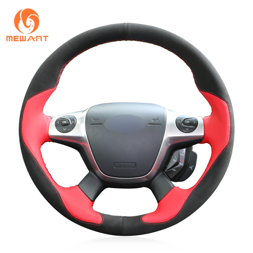MEWANT Red Leather Black Suede Car Steering Wheel Cover for Ford Focus 3 2012-2014 KUGA Escape 2013-2016 C-MAX 2011-2014 велосипед focus black forest 29r 4 0 2014