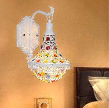 Mediterranen Stil Romantische Perlen Wand Lampen Moderne Individualität Eisen E27 Led-leuchten Für Foyer & Veranda & Treppen & TV Wand ZLBD047