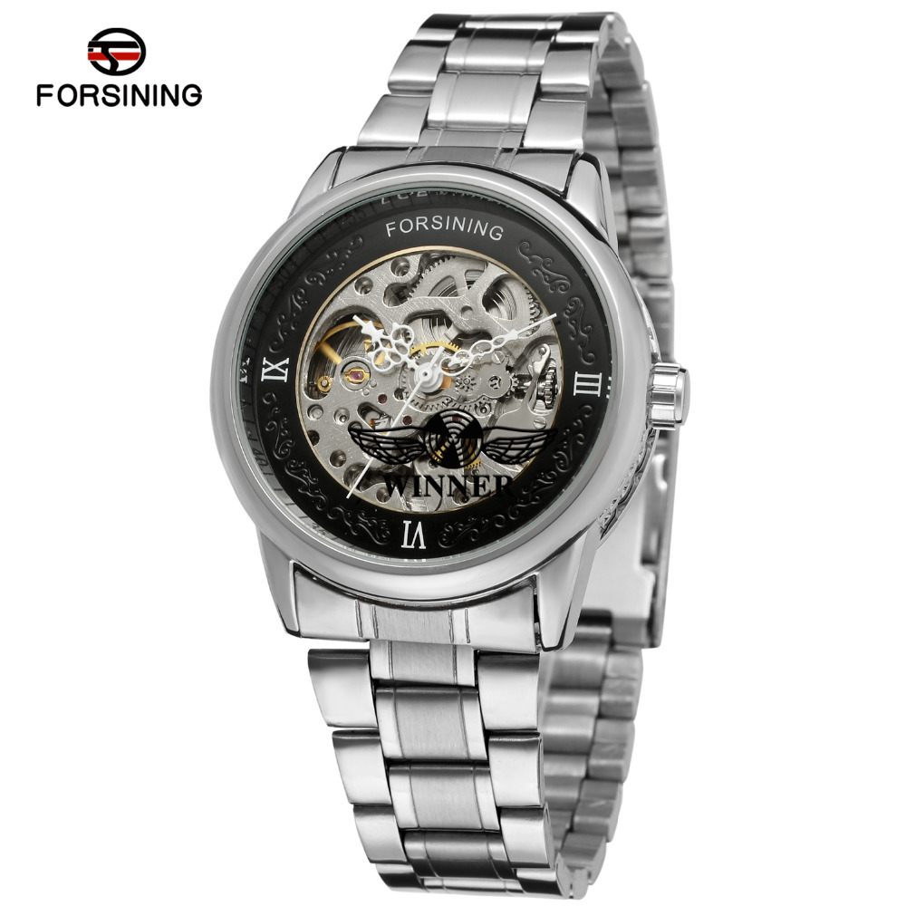 FORSINING Men s Watch New Product Automatic Skeleton Stainless Steel Bracelet Business Wristwatch Black Color FSG8046M4S1