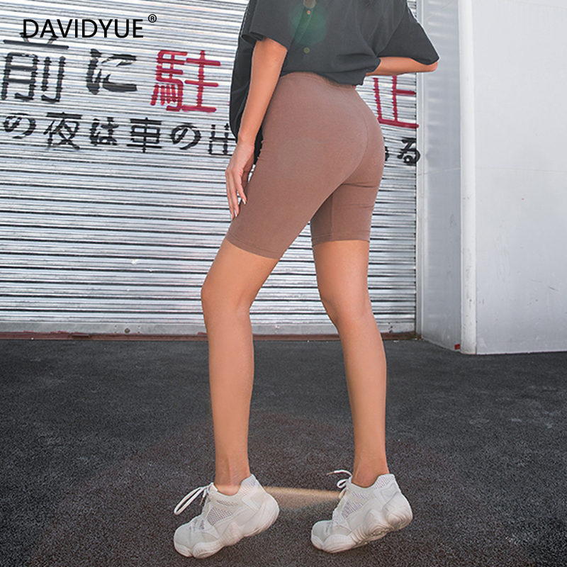 2019 Summer Vintage High Waist Shorts Women Sexy Biker Shorts Short Feminino Cotton Neon Green Black Shorts Sweatpants(China)