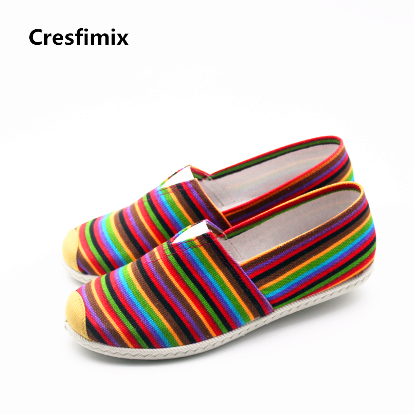 Cresfimix zapatos de mujer women fashion red stripe canvas flat shoes lady casual high quality cloth shoes lady cool loafers автоаксессуар cool lady