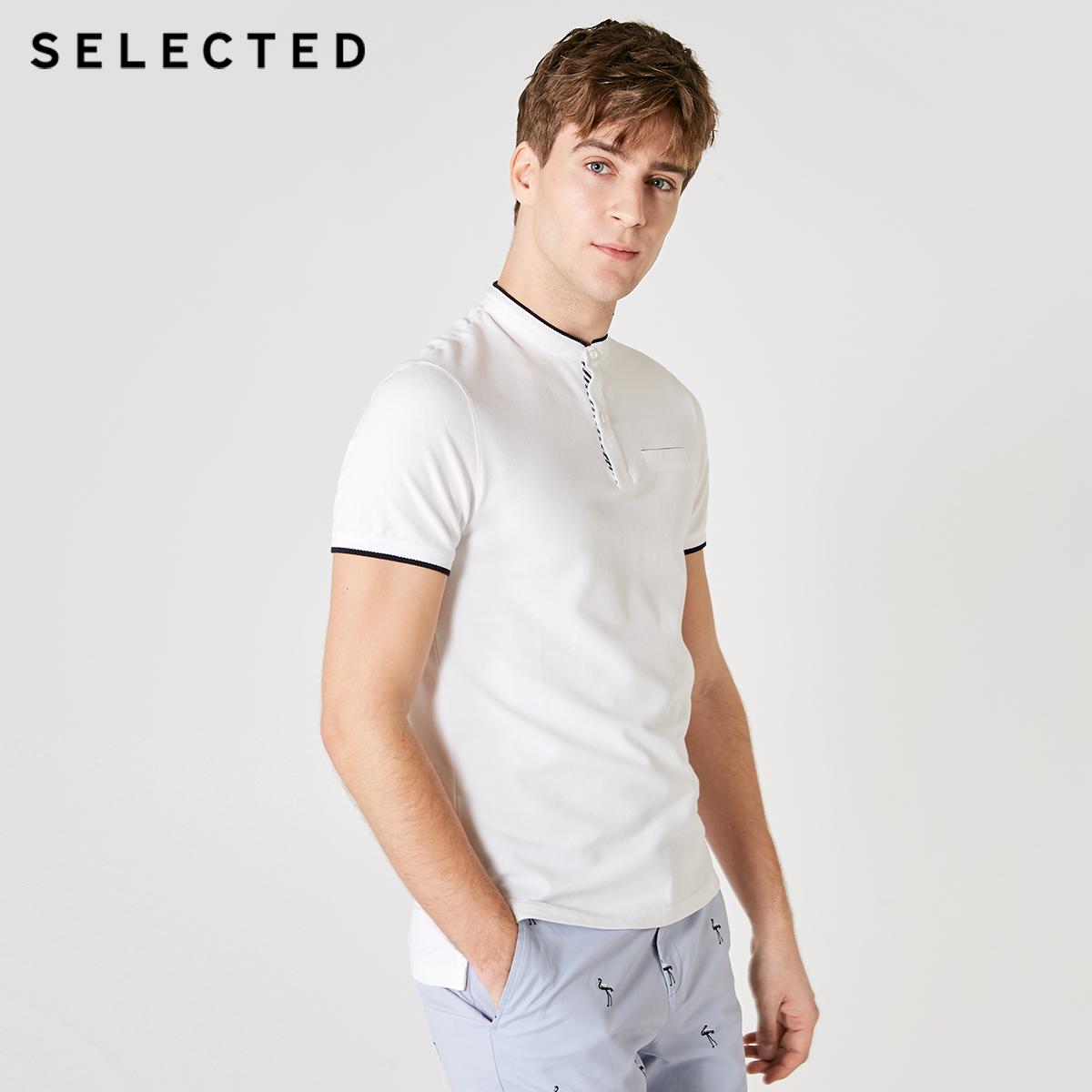 SELECTED Men's Summer Slim Fit Contrasting Short-sleeved Poloshirt S|419206562