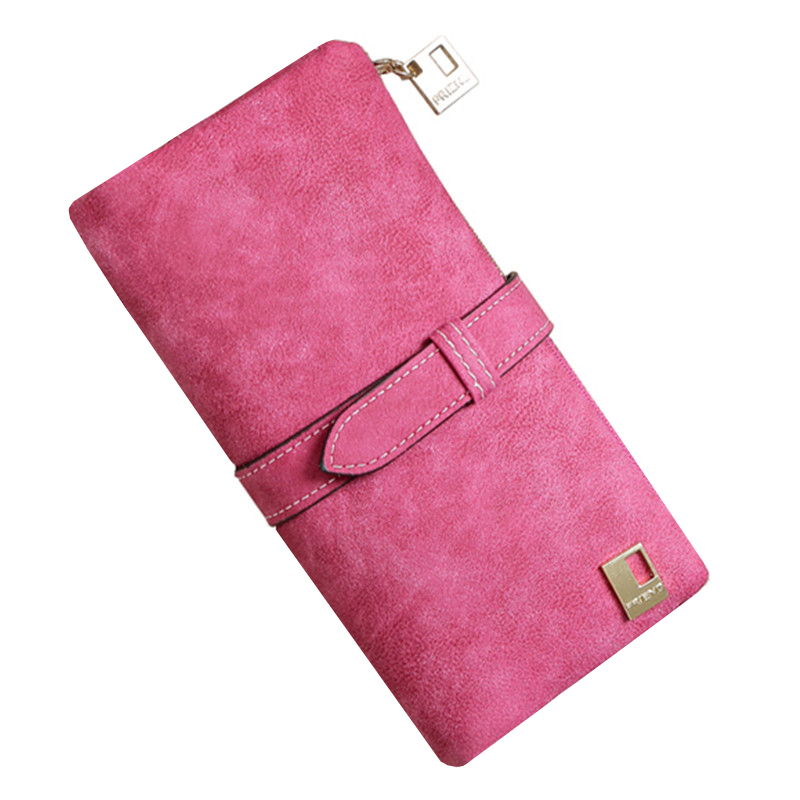 2018 Solid Drawstring Nubuck Leather Zipper Long Women Wallet Phone Bag Luxury Brand Wallets Designer Purse Card Holder Clutch 5