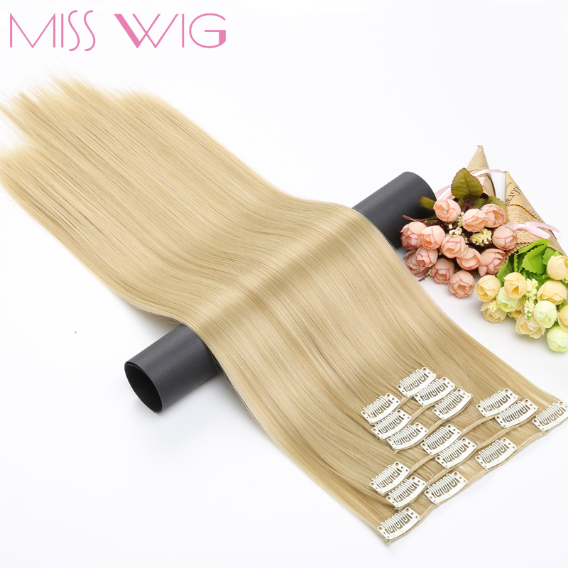 MISS WIG 15Colors Available 24Inchs 16 Clips in Hair Extensions Straight Hairstyle Synthetic Hairpieces 140g False Hair