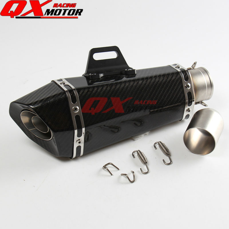 New motobike High quality Carbon fiber Exhaust Mufflers Pipe For Scooter Motocross Enduro Supermoto Off road Motorcycle Modified