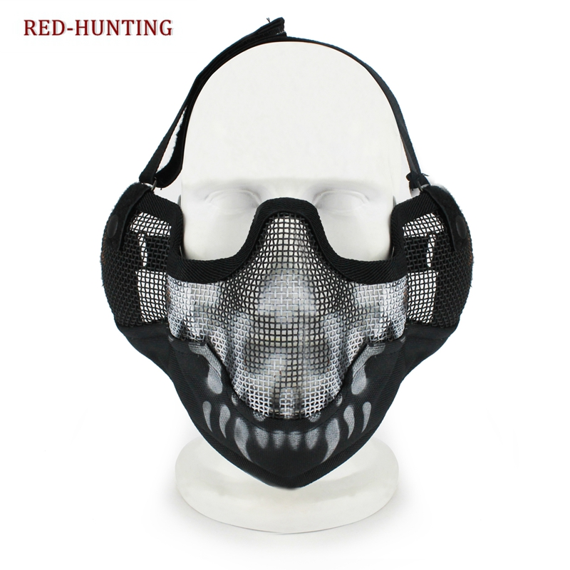 New V2 Hard Metal Mesh Half Face Airsoft Protect With Ear Protection Hunting Mask